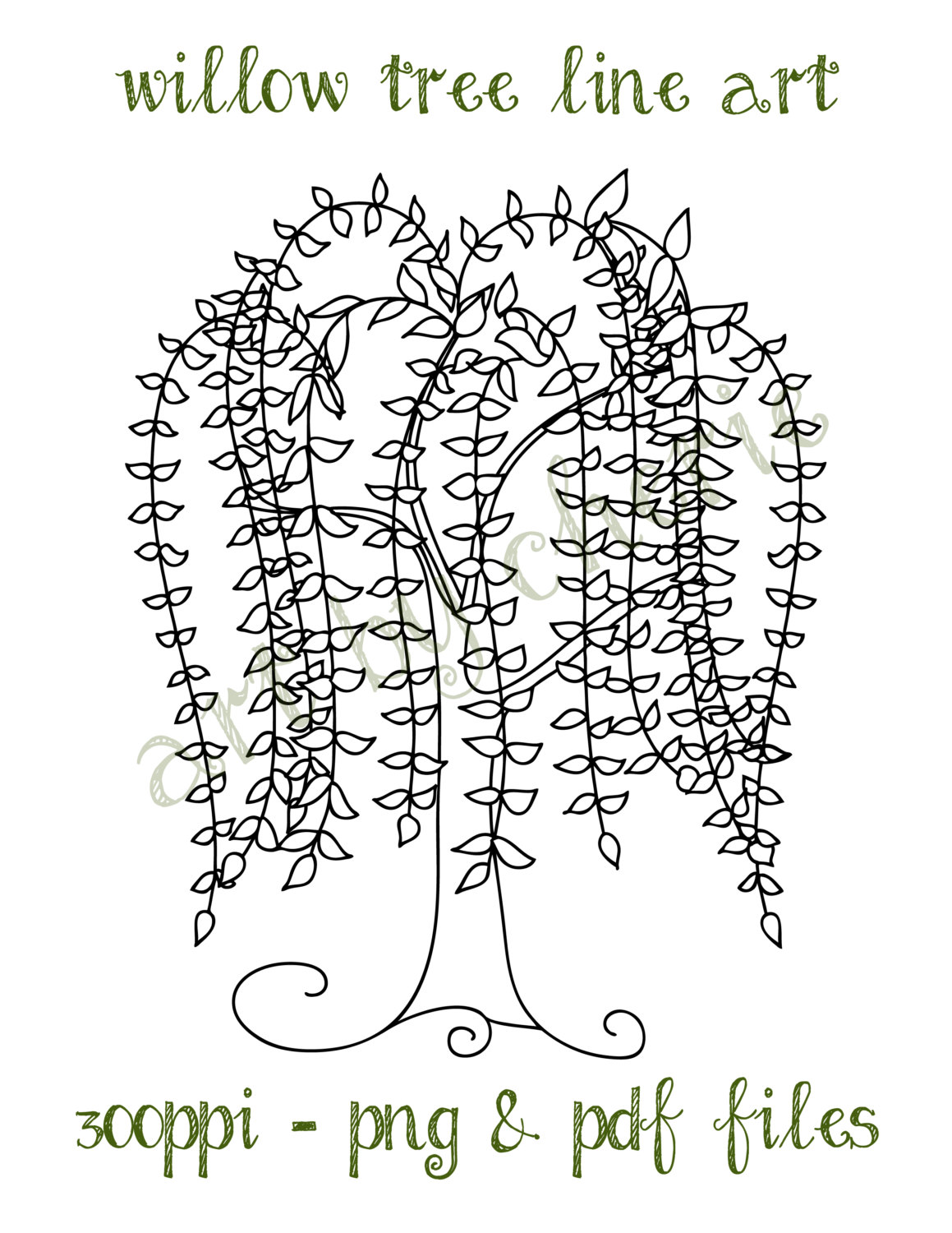 Willow Tree Silhouette Clipart.