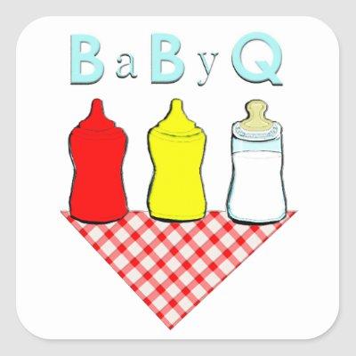 BBQ Baby Shower Square Sticker.