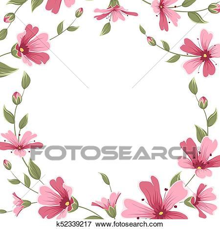 Gypsophila babys breath flower border frame wreath Clip Art.
