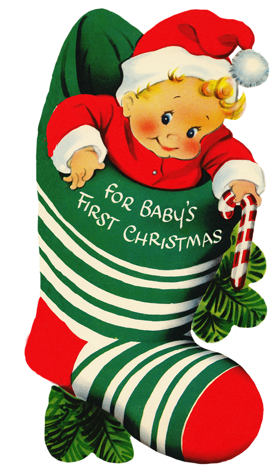 baby\'s first Christmas in sock.