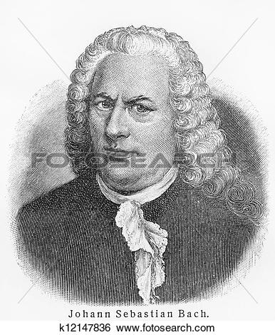 Stock Illustration of Johann Sebastian Bach old engraving.