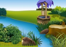 Cartoon Water Well Stock Illustrations.