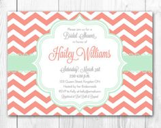 Damask Coral & Mint Baby Shower Invitation, DIY Printable.
