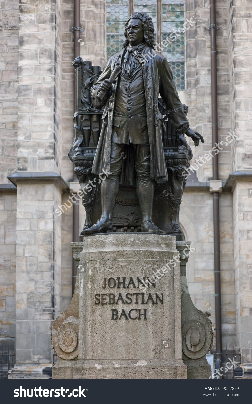 Statue Of Js Bach In Front Of St. Thomas Church In Leipzig.