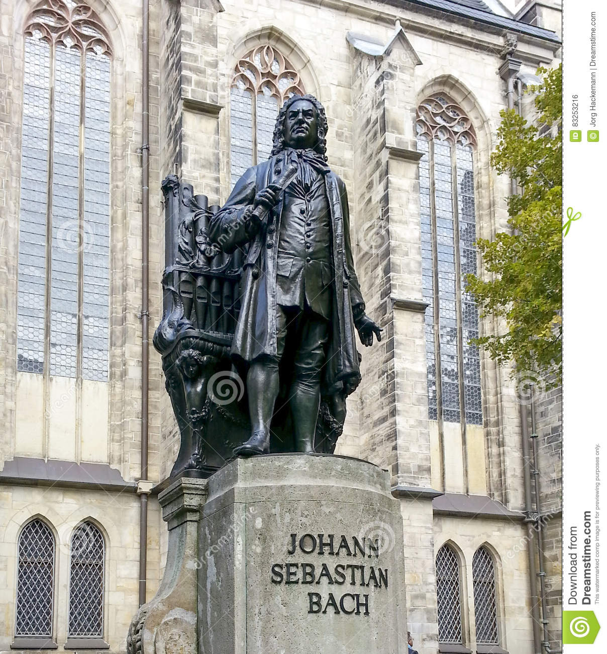 Bach Monument Stands Since 1908 In Front Of The St Thomas Kirche.