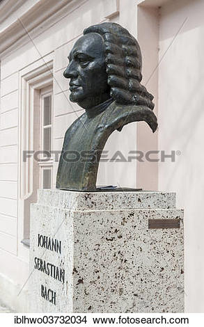 "Stock Photo of ""Monument to Johann Sebastian Bach, bronze bust on."