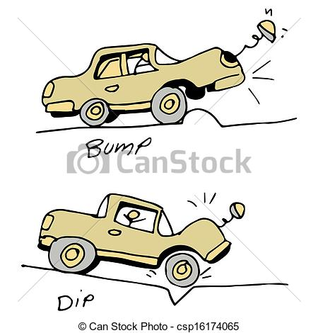 Clip Art Vector of Car Hitting Bump and Pothole in Road.