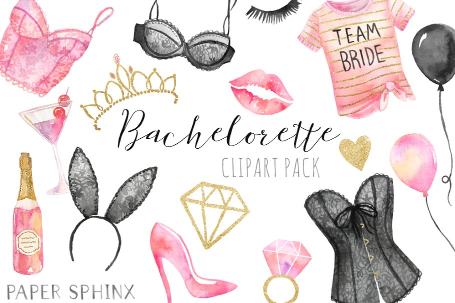 Watercolor Bachelorette Clipart.