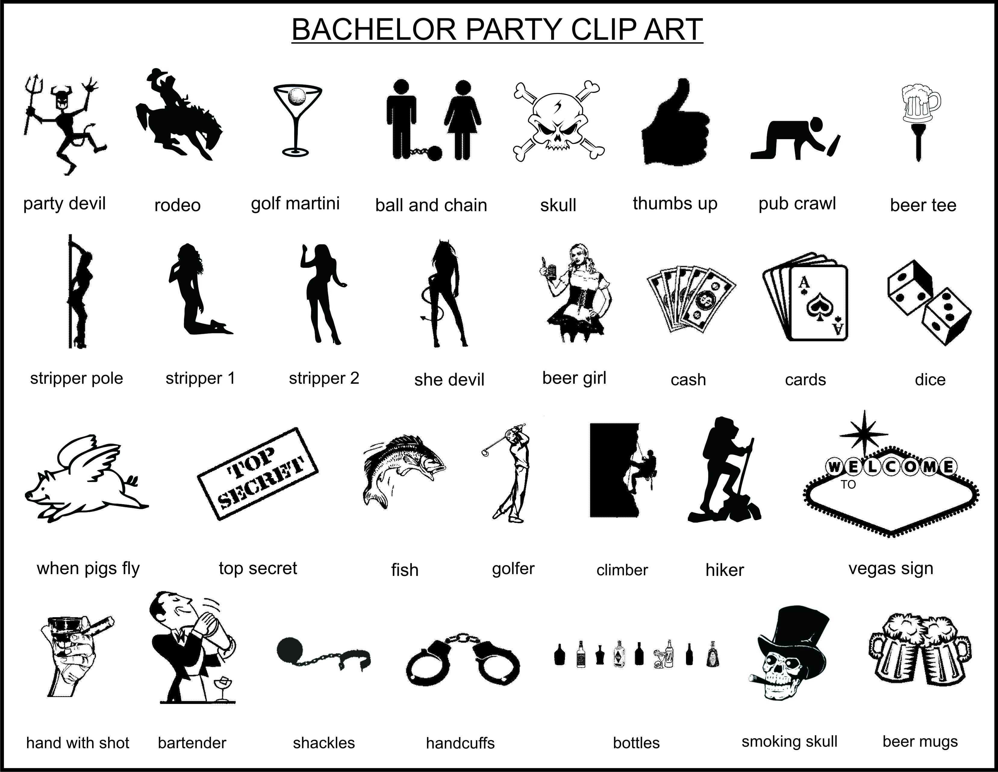 Bachelor party clipart.