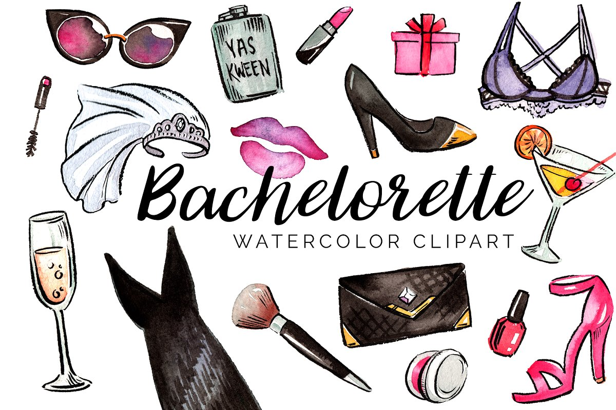 Watercolor Bachelorette Clipart Set.