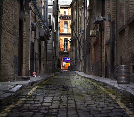 Looking Down A Long Dark Back Alley Pics.