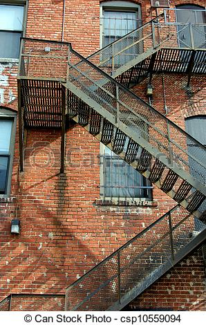 Stock Photographs of Alley fire escape.