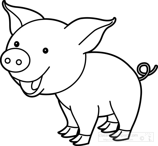 Cute Pig Black And White Clipart.