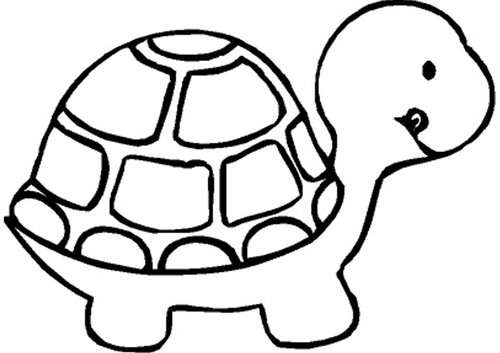 Cute turtle and the hare clipart black and white.