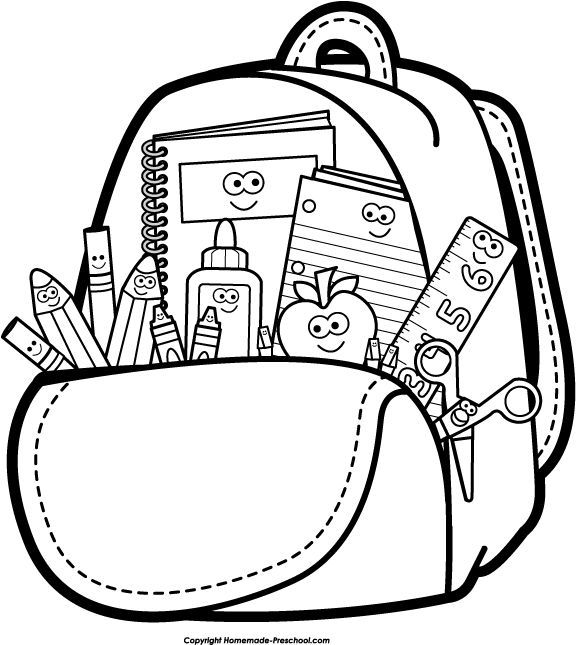 Back to School Clipart Black and White Backpack.
