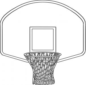 Basketball backboard clipart black and white.