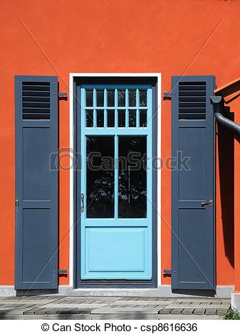 Stock Image of backdoor with shutters.