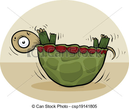 Vector Clipart of Upside Down Turtle.