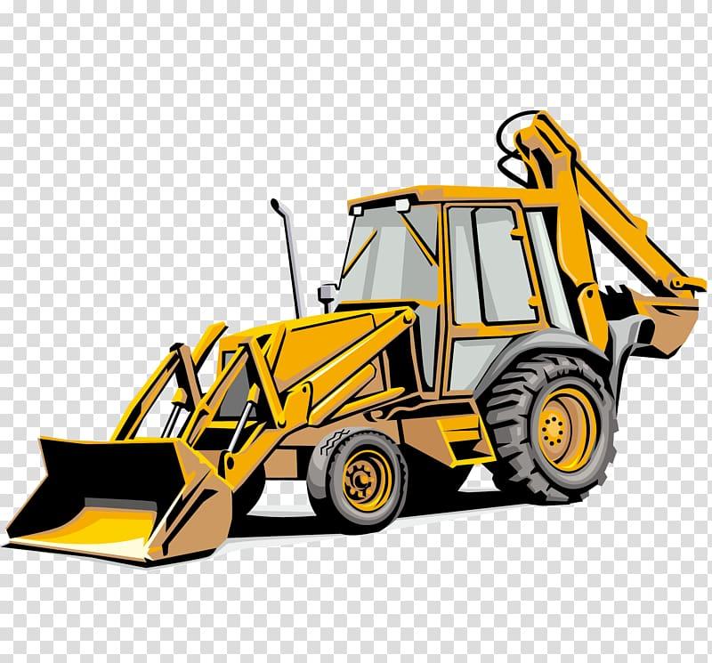 Yellow payloader backhoe illustration, Backhoe loader.