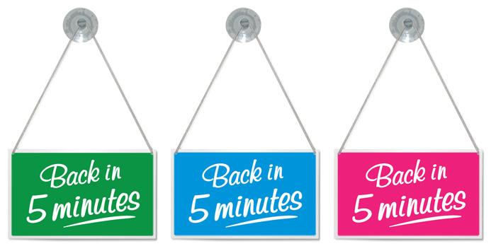 Details about \'BACK IN 5 MINUTES\' SHOP HANGING SIGN, WINDOW, DOOR.