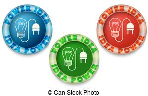 Clip Art Vector of Three icons with color back light and idea.