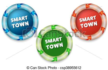 Vector Clip Art of Three icons with color back light and the words.