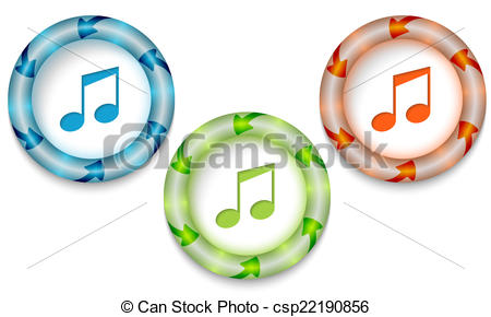 Clipart Vector of Three frames with color back light and music.