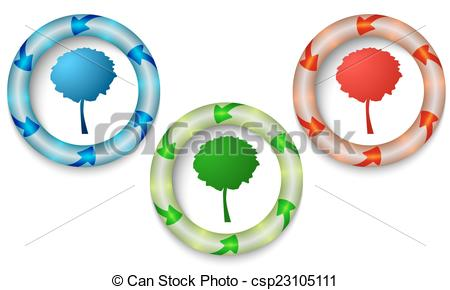 Vector Clip Art of Three icons with color back light and tree.