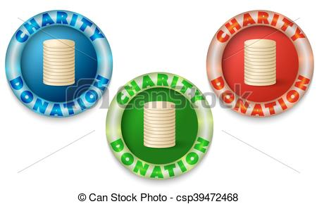 Clip Art Vector of Three icons with color back light and the words.