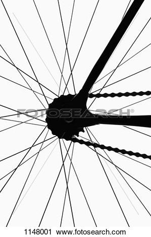 Stock Photography of Detail of a bicycle wheel, back lit, studio.