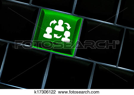 Clip Art of Online collaboration Concept with back lit keyboard.