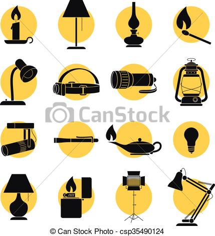 Vector Illustration of Back Lit Lamp Sihouettes.