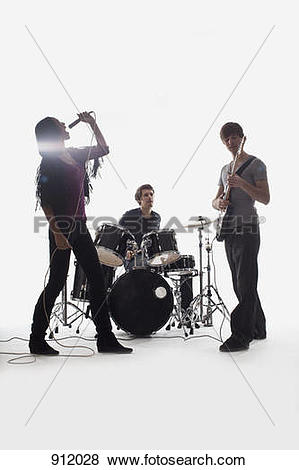 Pictures of A drummer, guitarist and singer performing, studio.