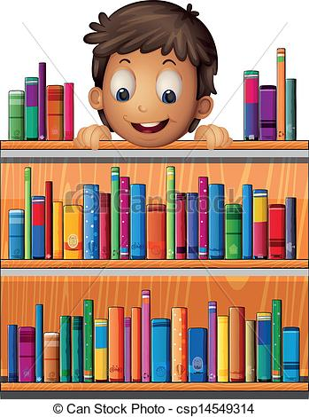 Vector Clip Art of A boy at the back of a wooden shelves with.