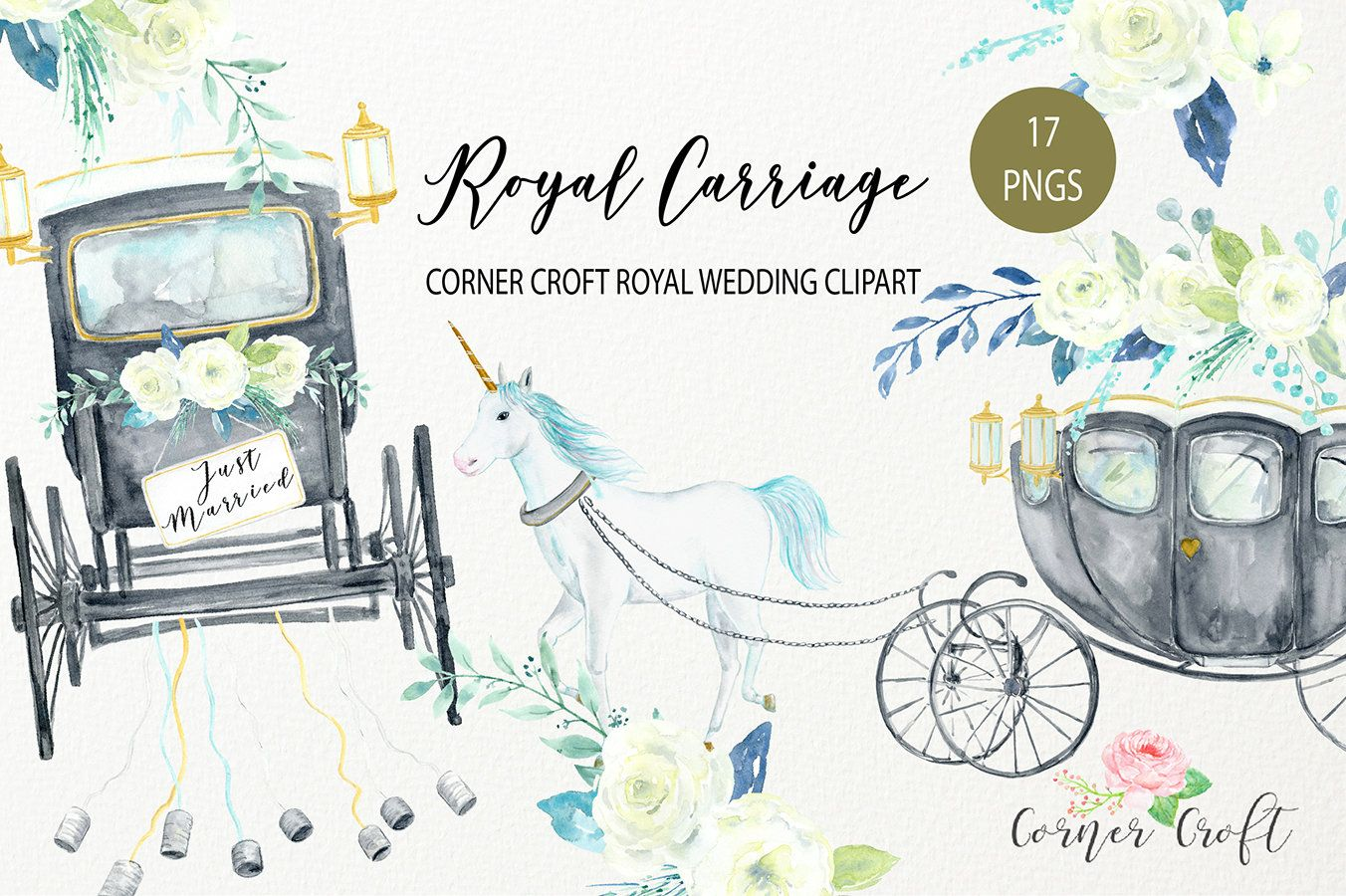 Watercolor royal carriage clipart.