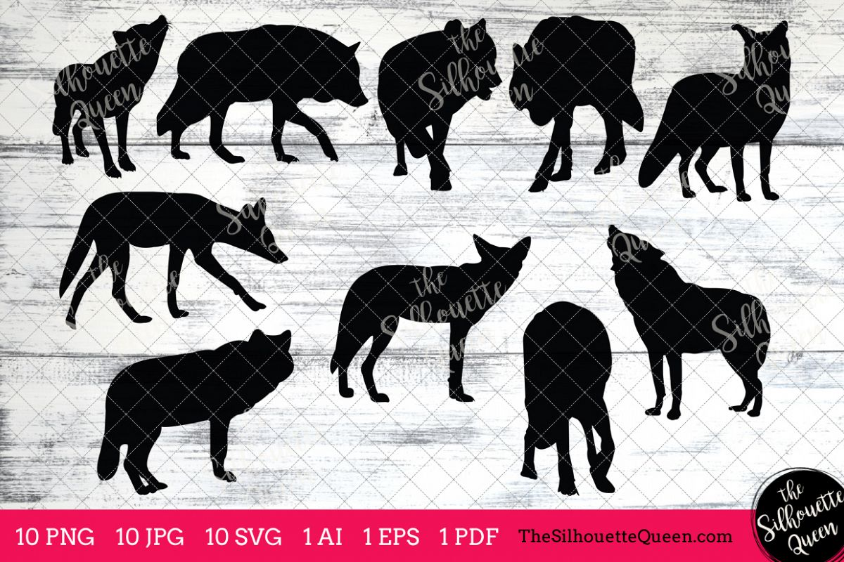 Coyote Silhouettes Clipart Clip Art(AI, EPS, SVGs, JPGs, PNGs, PDF) ,  Coyote Clip Art Clipart Vectors.