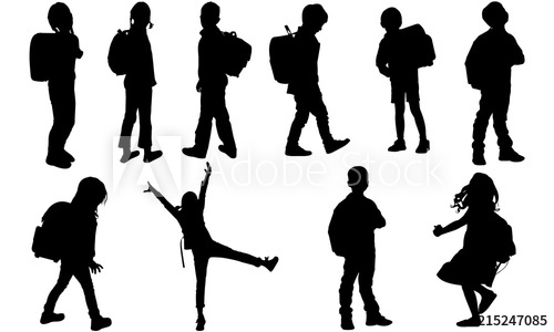 Back to School Kids Silhouette.