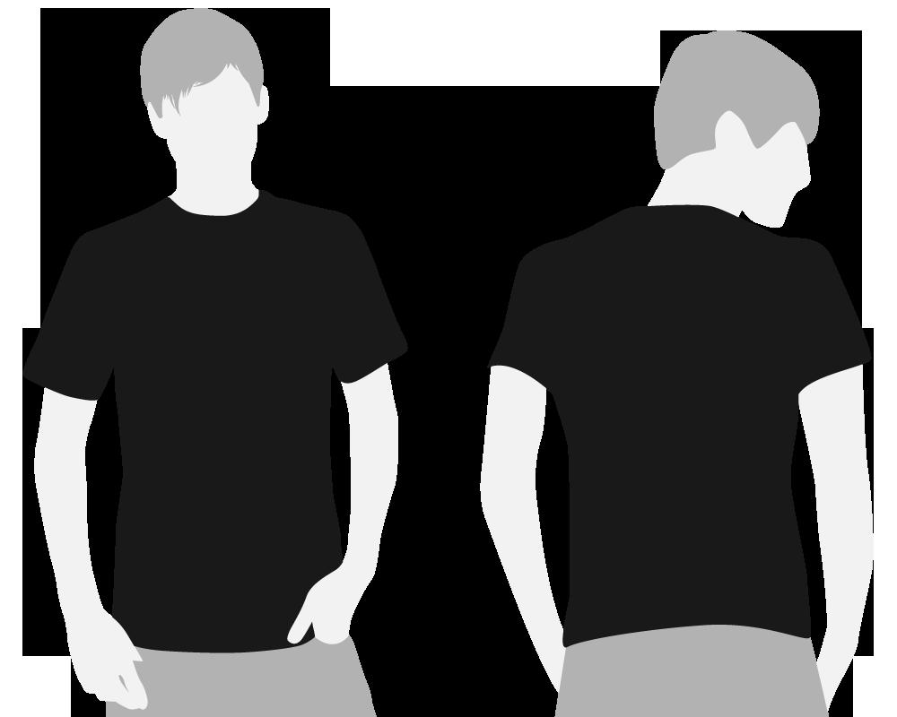 black shirt front and back model.