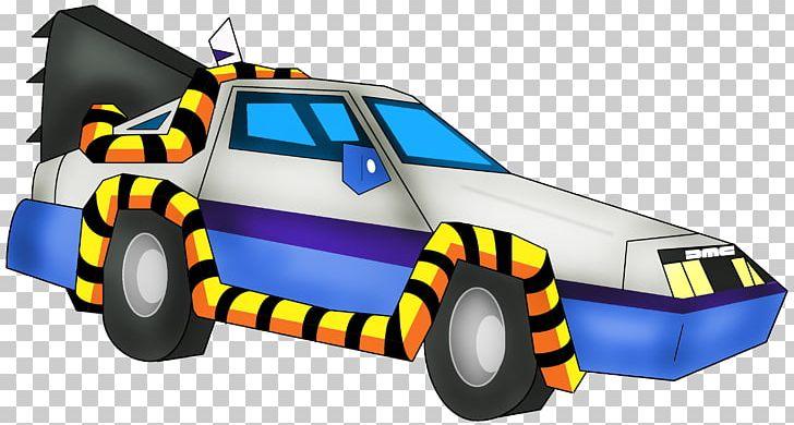 Marty McFly Dr. Emmett Brown Cartoon DeLorean Time Machine.