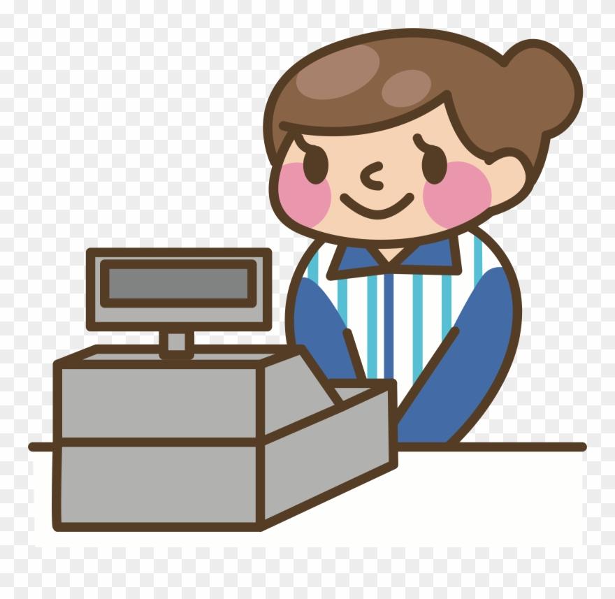 Cashier Cash Register Money Computer Animation Clipart.
