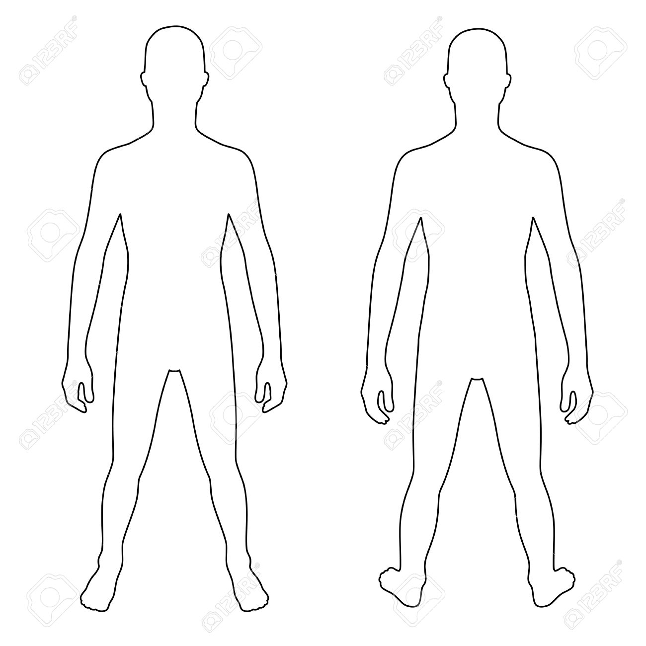 Human Body Silhouette Front And Back.