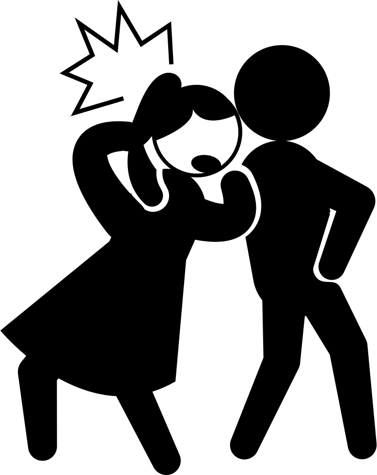 Criminal Kicking The Back Of The Head Of A Woman Svg Png.