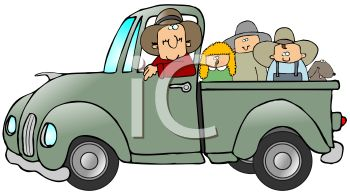 Farmer and His Family Riding In a Pickup Truck.