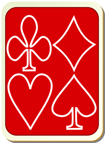 Playing card back red with white vector drawing.