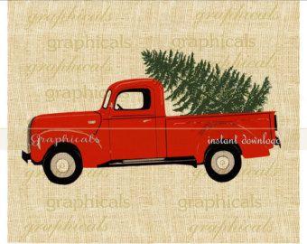 Christmas red truck Tree My drawing printable digital.