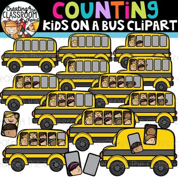 Counting Kids on a Bus Clipart {Back to School Clipart}.