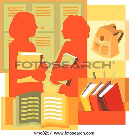Stock Illustration of Two students talking by their lockers.