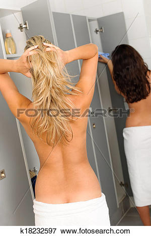 Picture of Locker room two relaxed women wrapped towel k18232597.