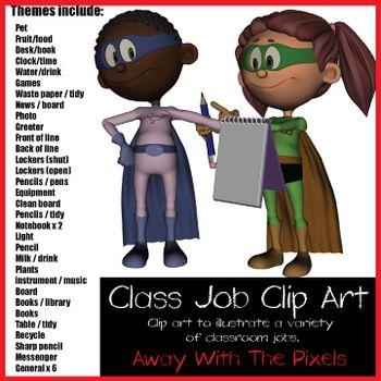 Superhero Class Jobs Clip Art.