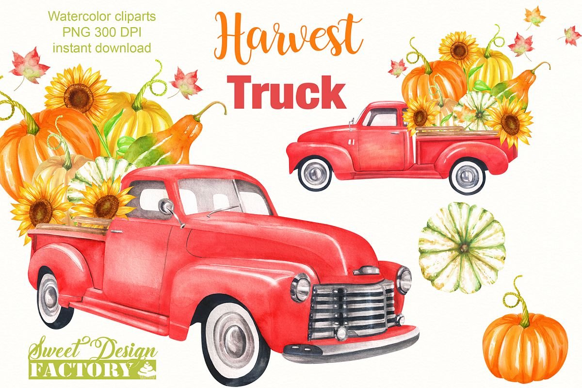 Watercolor harvest vintage truck clipart.